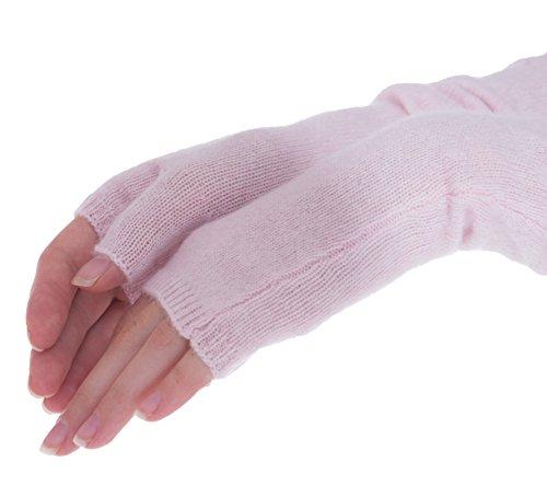 cashmere 4 U Women's 100% Cashmere Long Sleeve Fingerless Mitten Gloves (Givre) by cashmere 4 U (Image #1)