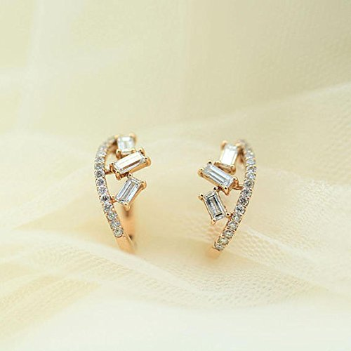Diamond Earrings, Baguette Diamond Statement Earrings, Diamond Huggie Earrings, Diamond Climber Earring, Diamond Wedding Rose Gold Earrings