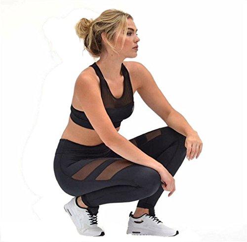 Tongshi Mujer Cintura alta Flaco Las polainas de Patchwork Malla Hacer subir Yoga Pantalones (M) S
