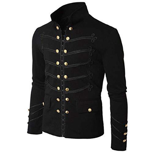 Retro Men Parade Jacket Gothic Military Army Coat Steampunk Tunic Rock Frock Uniform Male Vintage Punk Cosplay Costume Black L