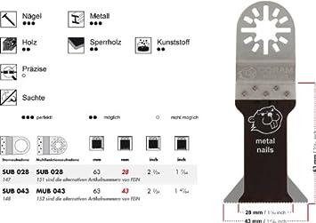 preisg/ünstige Markenqualit/ät 1 E-Cut S/ägeblatt SUB 043 long-life Universal 43 mm Mit Bi Metall Universalverzahnung und Sternaufnahme + Das Profi-Zubeh/ör f/ür Ihr oszillierendes Multifunktionswerkzeug passend f/ür Fein Supe