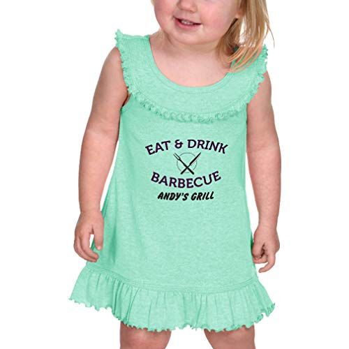 Price comparison product image Personalized Custom Eat & Drink Barbecue Grill Taped Neck Cotton / Polyester Infant Girl Ruffle Tank Dress - Ice Green,  24 Months
