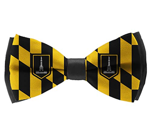 men & boys Classic Pre-Tied bow ties, Baltimore Maryland USA Flag Polyester Casual And Formal Banded Bow Ties Adjustable Tuxedo Accessories Butterfly Bow Tie for Formal Event]()