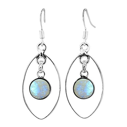 Natural Moonstone Earrings 925 Silver Overlay handmade Dangle Earrings for women