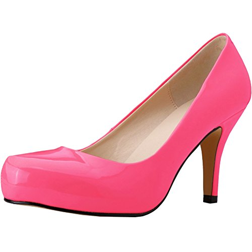 fereshte Women's Style Fashion Office Lady Shoes Patent Leather Round-Toe Stiletto High Heels Pumps Rose Red