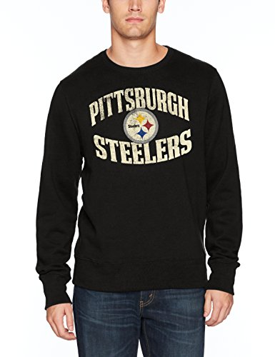 NFL Pittsburgh Steelers Men's OTS Fleece Crew Distressed, Jet Black, X-Large