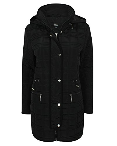 JBC Collection Ladies Down Coat with Detachable Hood Padded Smart Black
