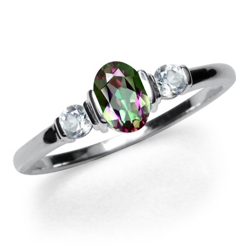 Mystic Topaz 3 Stone Ring - 3-Stone Mystic Fire Topaz White Gold Plated 925 Sterling Silver Ring Size 10