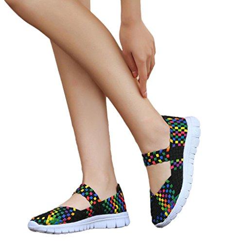 Basket De Sandales Femmes Black Femme Tissé Super Luo Chaussures Jogging Femme Femme Occasionnels Casual Mode Respirant Sport Plates Espadrilles Escarpins THP5Pnw