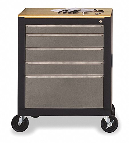 Mobile Storage Cabinet with Central Locking System Features a Removable Sealed Shop Top with Ribbed Rubber Mat, Swivel Casters and Drawers, Black/Gray Finish, Great Use for Garage