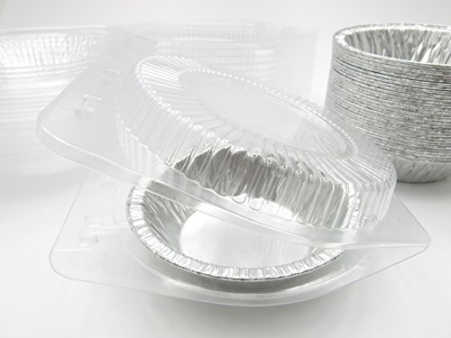5'' Disposable Pot Pie/Pie Pans/Individual Dessert Pans With Clear Clamshell containers- Quantity Pack Options (100) by Safca