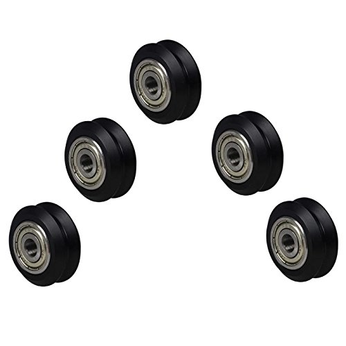 (5Pcs Dual V-Slot Delrin Wheel POM Plastic Idler Pulley with Bearings Bore 5mm High Tolerance Wheel Kit 3D Printer CNC)