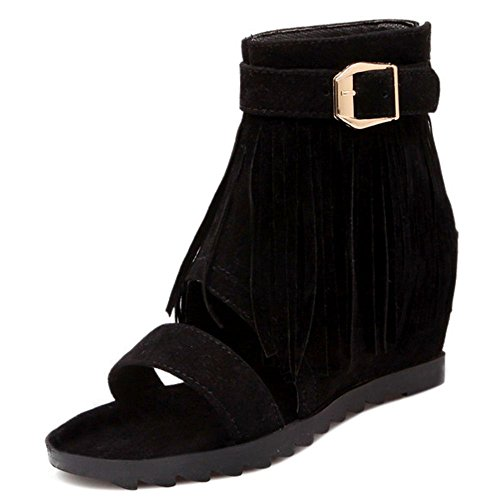 Sandals Women's TAOFFEN Black Wedge Heel Fringe dwTWHWa8q