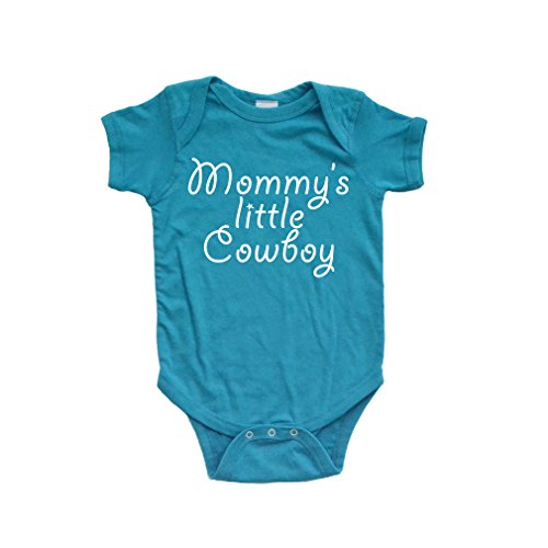 Apericots Mommy's Little Cowboy Adorable Cute Baby Soft Cotton Country Western Boy Creeper (6 Months, Turquoise) -