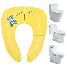 X-cool Children Portable Folding Potty Seat Baby Toilet Mat Training Potty for 1-6 years boy girl (Yellow)