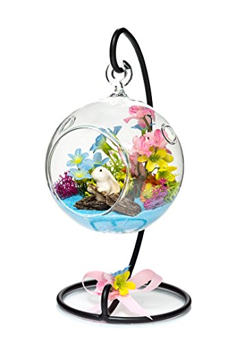 "Terrarium Kit | Row Boat Bunny | Spring Series | Complete Terrarium Gift Set | 4"" Glass Globe Terrarium Container with Stand 