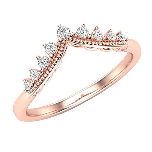 (1.00 Ct Round Cut Simulated Diamond Curved Milgrain Wedding band 14k Rose Gold Finish 5.5)