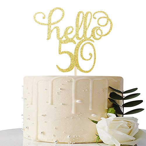 Hello 50 Cake Topper- 50th Birthday/Wedding Anniversary Party Sign Decorations