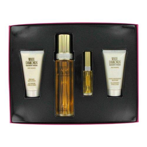 White Diamonds By Elizabeth Taylor Gift Set -- 3.4 Oz Eau De Toilette Spray + 1.7 Oz Body Wash + 1.7 Oz Body Lotion + .33 Oz Mini Edt Spray For Women - White Body Moisturizing Wash Diamonds