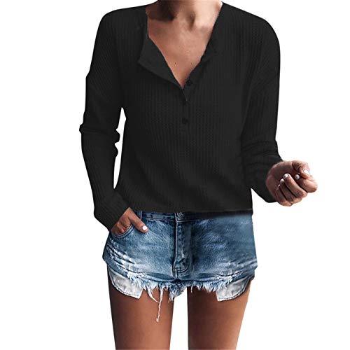 LHWY Donna Inverno Manica Lunga Casual Mantieni Caldo Elegante Casual Manica Lunga Henley Camicia Rib Maglia Button Tunica Nero