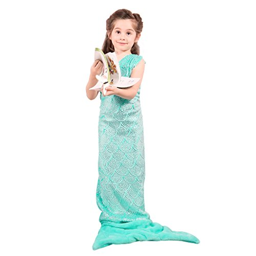 LANGRIA Soft Flannel Full-Body Kids Mermaid Tail Blanket with Halter Top All Season Snuggle Sleeping Life-Like Little Mermaid Glittering Warm Throw Blanket for Bed Sofa Couch (57 x 21 in, Green)