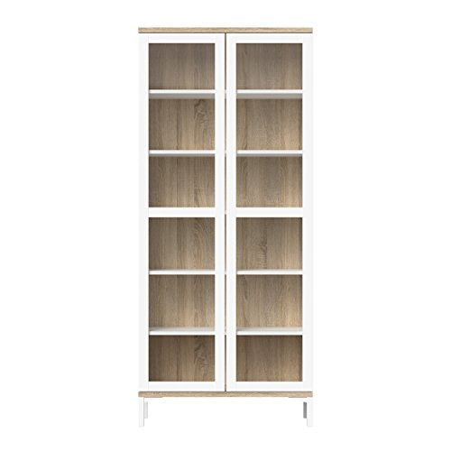 Wood China Cabinet - Tvilum 9217649ak Aberdeen 2 Door China Cabinet, White/Oak Structure