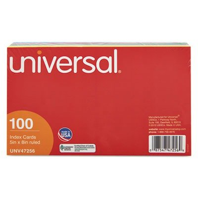 UNV47256 - 5 x 8 Multi-Color Ruled Index Cards,100/Pack