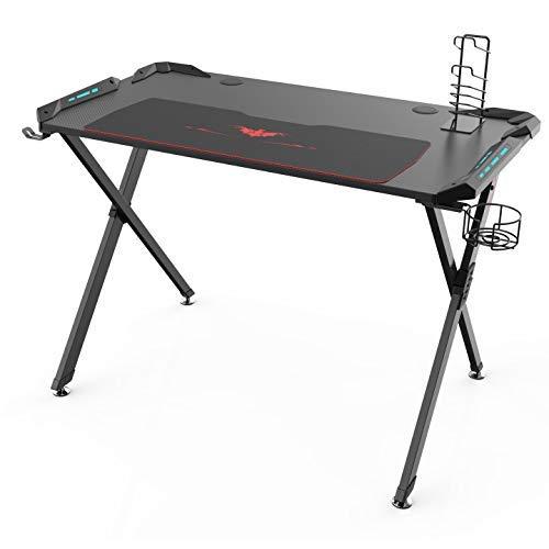 Eureka Ergonomic X1-S Gaming Computer Desk PC Table Gaming Desks with LED Lights Large Carbon Fiber Surface Cup Holder & Headphone Hook-Black