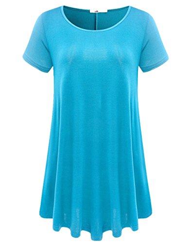 (JollieLovin Women's Short Sleeve Loose Fit Flare Hem T Shirt Tunic Top (Lake Blue, L))