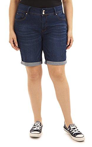 Angels Jeans Women's Plus Size Bermuda Jean, Midnight, 16W