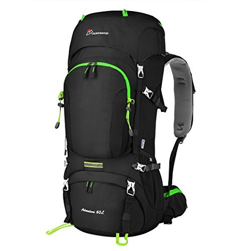 MOUNTAINTOP 50L/60L Hiking Backpack with Rain Cover (60L-Black)