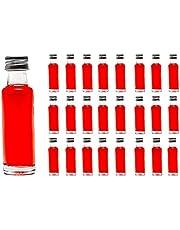 Casavetro Klart Skruv Top Tomma glasflaskor 20 ml - Återanvändbara Påfyllningsbara Twist Av Lock - lufttät Metall Lock för Kombucha Ölbryggning Gin Olja Vinäger Öl Vin Cider, Vodka Soda och Vatten (24 x 20 ml)