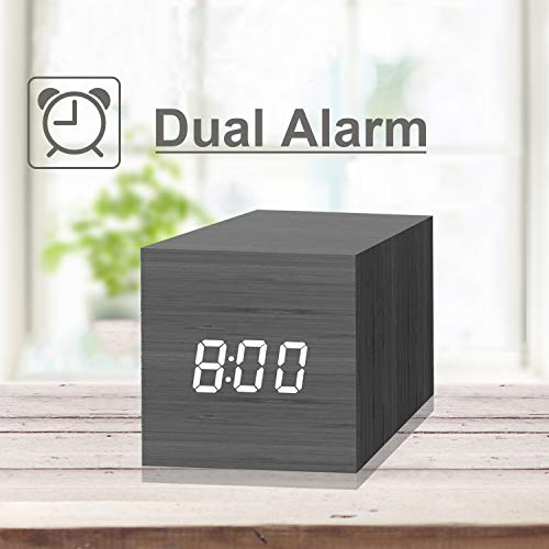 Digital Alarm Clock, with Wooden Electronic LED Time Display, 2 Dual Alarm,  2 5-inch Cubic Small Mini Wood Made Electric Clocks for Bedroom, Bedside,