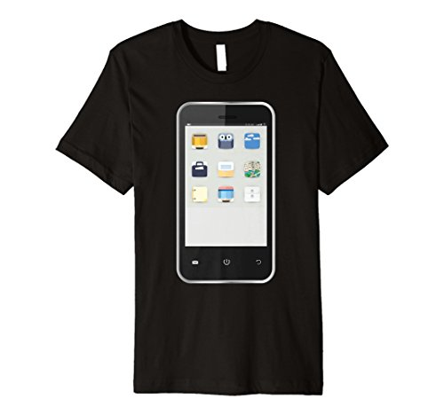 Mens Cell Phone T-shirt Easy Group Halloween Costume Idea XL Black -