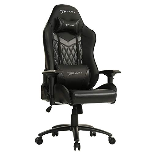 Ewin Gaming Office Chair 4D Armrests High-Back PU Leather Diamond Pattern Ergonomic Racing Executive Computer Chair Champion Series Black
