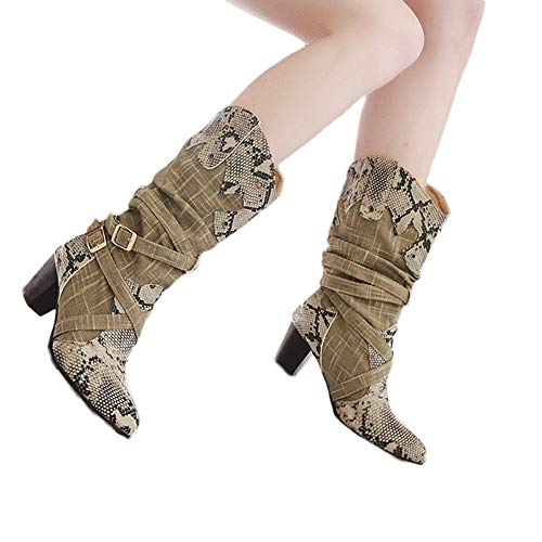 Woman High Heels Mid Boots Snake Pointed Toe Winter Shoes Stylish