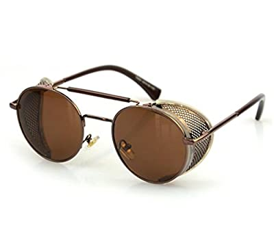 TELAM Steampunk Metal Frame Leather Side Wind Mirror Sunglasses Retro Sunglasses