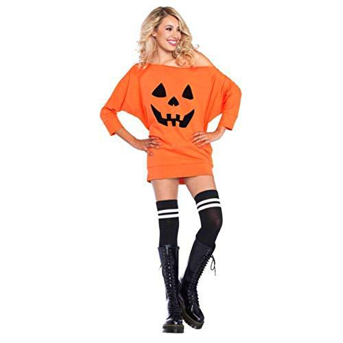 Womens Halloween Cute Pumpkin Print Long Sleeve Sweatshirt Pullover Tops Shirt -