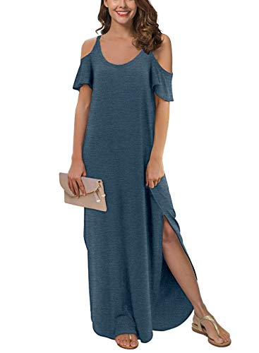 GRECERELLE Women's Summer Strapless Strap Cold Shoulder Casual Loose Dress Cover Up Long Cami Split Maxi Dresses with Pocket VG-Blue-M
