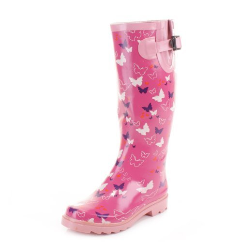 Womens Pink butterfly Wellies Wellington Boots SIZE 5