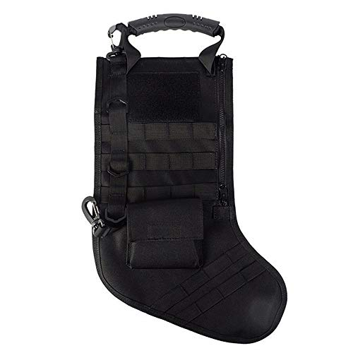 Ultrafun Tactical Christmas Xmas Stocking Socks with Handle Tactical Molle EDC Organizer Storage Bag Pouch (Black)