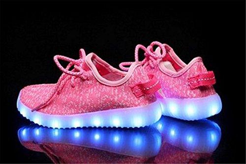Labaqiangj Bambino Scarpe Led Illuminano Usb Ricarica Lampeggiante Moda Sneaker Slip-on Scarpe Sportive Per Bambini Rosa