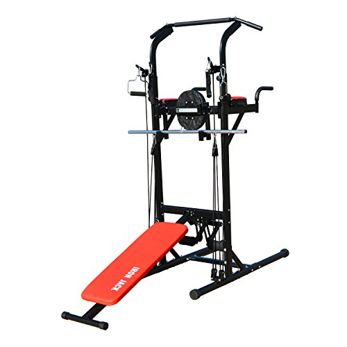 Iron-Jack-Multi-Function-Work-Out-Exercise-Station-Power-Tower-Chin-Up-Pull-Up-Dip-VKR-Bench-Press-Stand