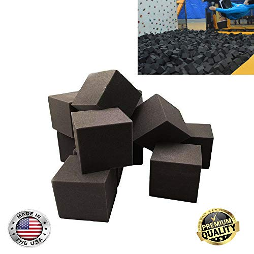 FoamRush Foam Pit Blocks/Cubes (Charcoal) 8″ x 8″ x 8″ Pack of 10 Pit Foam Blocks/Cubes for Skateboard Parks, Gymnastics Companies, and Trampoline Arenas