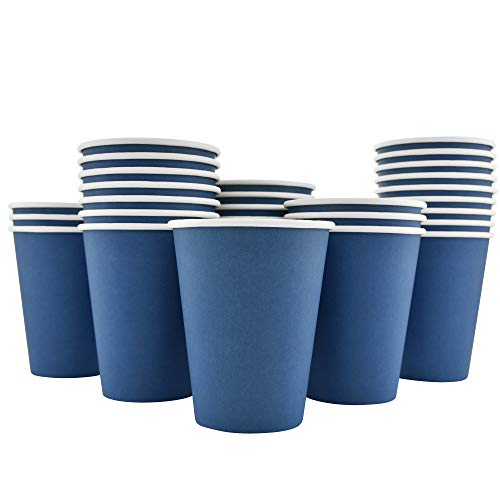 200 Pack - 12 Oz [8, 16] Disposable Hot Paper Coffee Cups - Deep Blue (Cups Only) -