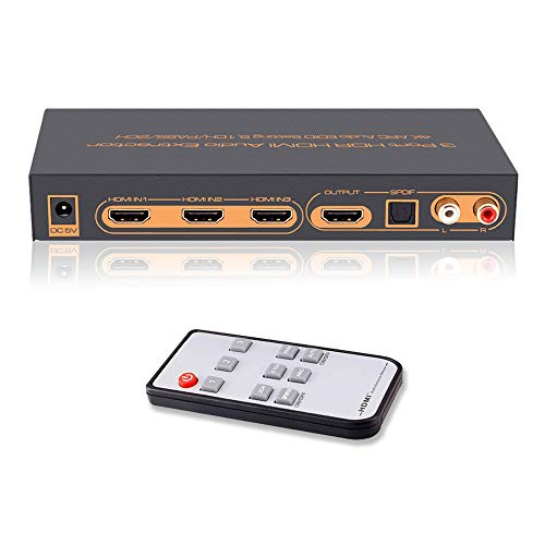3 Port 4K HDMI Switch with Optical Toslink & RCA L/R Audio Out, HDMI Audio Extractor Splitter with Remote, Support 4Kx2K@30Hz, Full 3D, 1080P, ARC