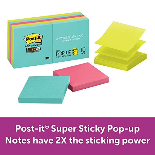Post-it Super Sticky Pop-up Notes, Miami Colors, Sticks and Resticks, Accordion-style Sticky Notes for Dispensers, Great for Reminders, Recyclable, 3 in. x 3 in, 10 Pads/Pack, -