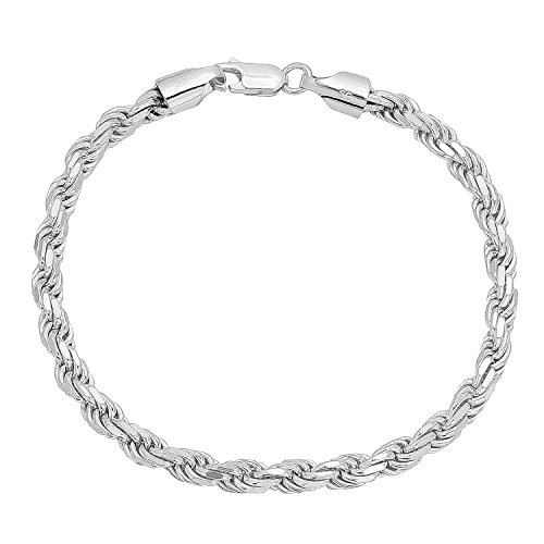 Italian Rope Chain Bracelet - 4.8mm Authentic 925 Sterling Silver Diamond-Cut Rope Chain Bracelet, 8 inches Made in Italy + Bonus Cloth