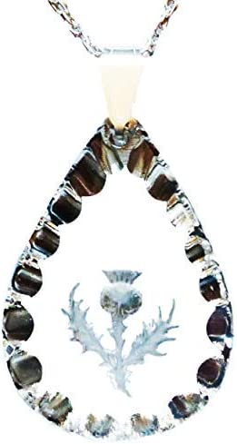 Medium Frosted Teardrop Crystal Pendant Thistle Flower of Scotland