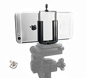 DaVoice Cell Phone Tripod Mount Adapter Holder Clamp for iPhone X Se 8 7 6 6s Plus 5 5s 5c Samsung Galaxy S9 S8 S7 S6 S5 Edge Adjustable Smartphone Universal Bracket Clip Cellphone Attachment (Black)